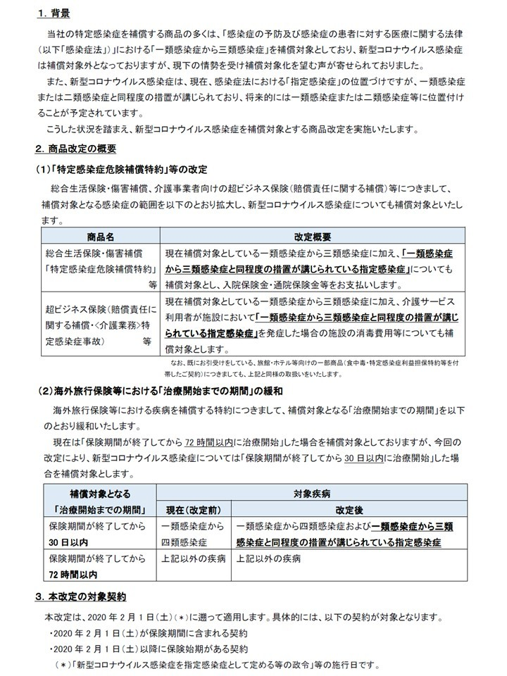 【損保】新型コロナウイルス感染症に関する各種商品の改定について